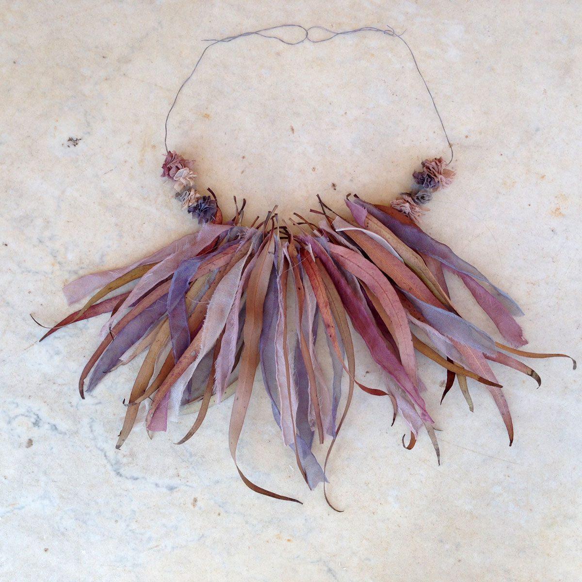 Neckpiece – Silk & Leaf Flutter – Heather Cowie